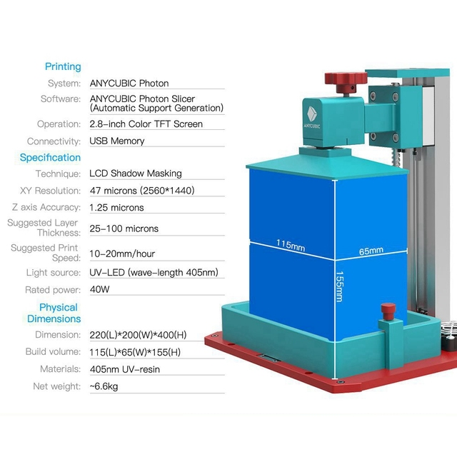 ANYCUBIC Photon SLA 3D Printer Plus Size UV LCD Assembled 2K Screen Off-Line Print Impresora 3d Drucker Impressora UV Resin