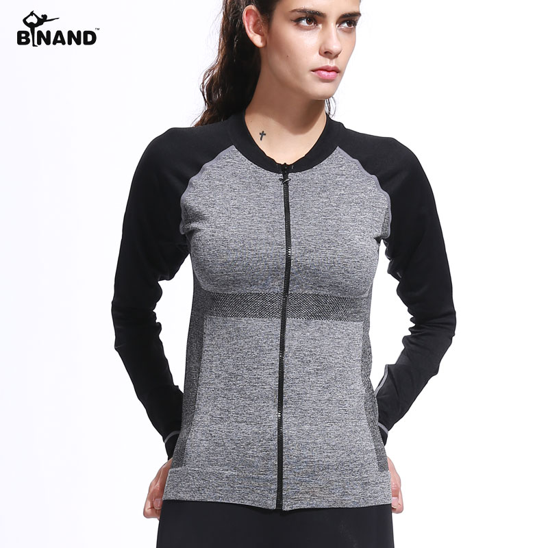 Dry Schnell Gym Yoga Jacken Hohe Elastische Strumpfhosen Frauen Fitness Jacken Läuft Lange Sleeve Zipper Jacken Fitness Frauen Kleidung Sportbekleidung