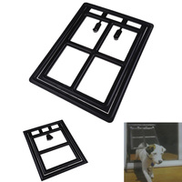Plastic Black Dog Cat Kitty Door For Screen Window Gate For Home Pet Cottage