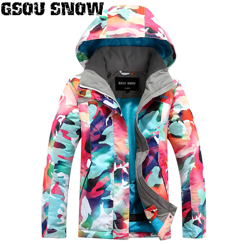 2018 Gsou Snow Girls Ski Jacket Windproof Waterproof Outdoor Sport Wear Skiing Snowboard Children Clothing Thermal Skiing Coat