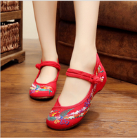 New Fashion Women Shoes Flats Sandals Embroider Mother Flower Slip On Canvas Round Toe Floral Dance