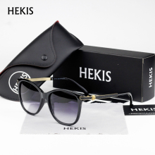 HEKIS Sunglasses Cat Eye Ladies Sunglasses 2017 Luxury Classic Women Fashion Shades Brand Designer Alloy Legs Points D1714