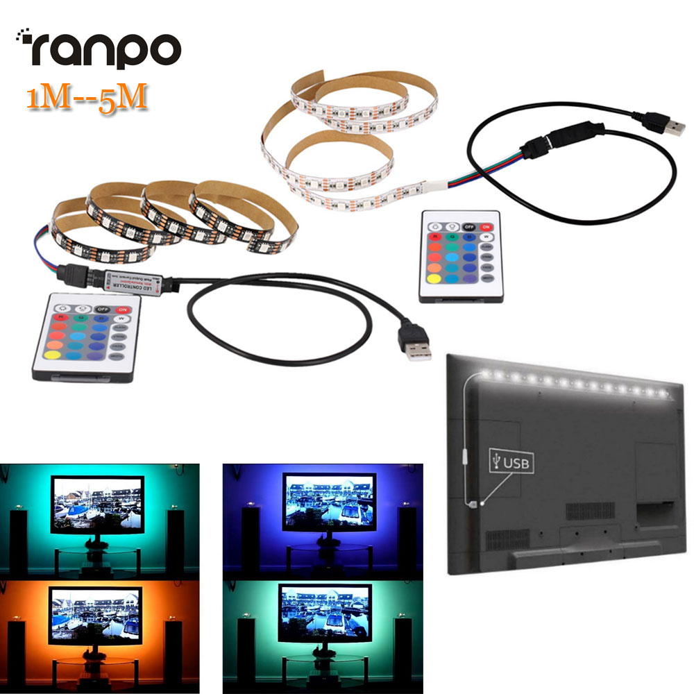 1M 2M 3M 4M 5M 5050 SMD RGB 60led/m Ribbon Tape Lamp DC 5V LED Strip RGB Light TV Back Lighting Kit + IR Remote Controller