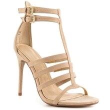 Khaki Faux Suede T-strap Sandal Women Stilettos High Heels Open Toe Heels Size 4-15 Women Gladiator Sandals Fringe Heels