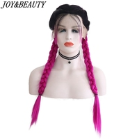 JOY&BEAUTY 24 Long Double Braids Straight Black Ombre 6 Color Braided Synthetic Light Brown Swiss Lace Front Wig With Baby Hair