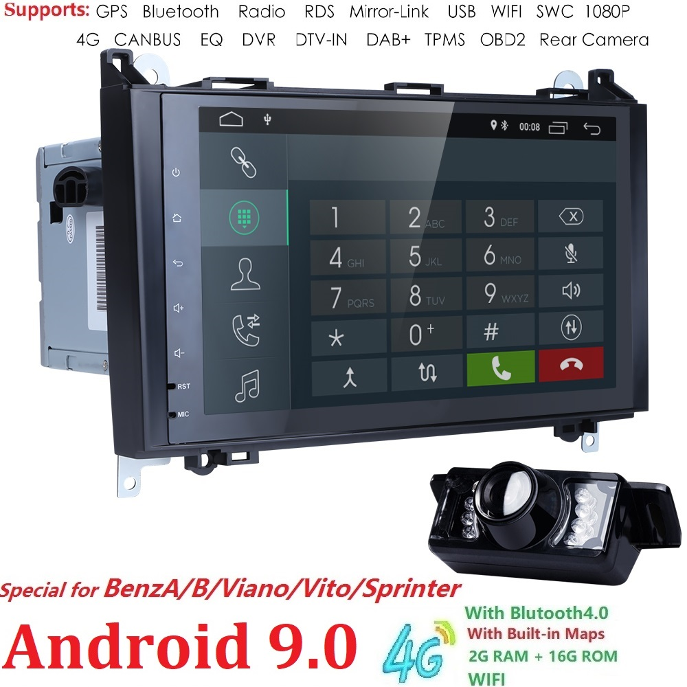 2GRAM 4G WIFI 2din no-DVD GPS Head unit for Mercedes Benz B200 A B Class W169 W245 Viano Vito W639 Sprinter W906 Bluetooth Radio