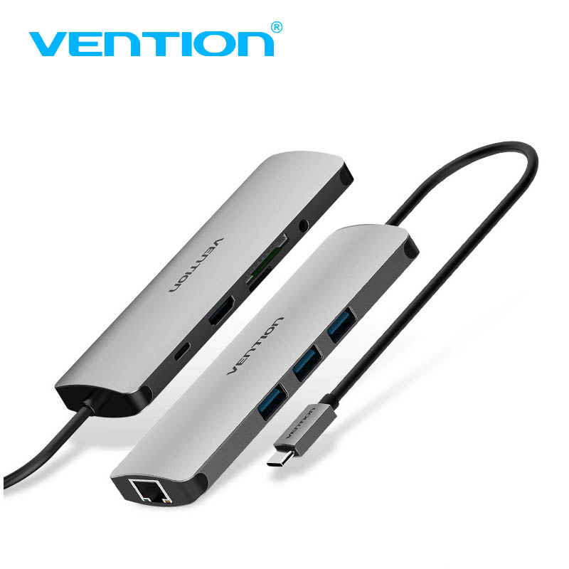 VEnTIO USB HUB All in One USB-C to HDMI VGA Card Reader RJ45 PD Adapter for MacBook Samsung Galaxy S8 Mate 10 Type C HUB USB 3.0 usb hub aluminum 5gpbs usb 3 0 hub splitter adapter usb3 0 hub usb 3 0 card reader support sd micro sd tf cf card