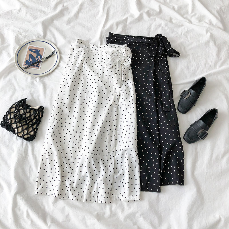 2020 New Women High Waist Polka Dots Skirt Elegant Midi Long Skirts Wrap Dots Chiffon Skirt Korean Fashion