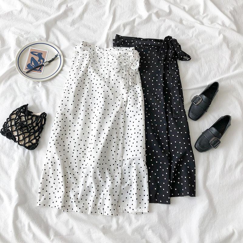 2020 New Women High Waist Polka Dots Skirt Elegant Midi Long Skirts Wrap Dots Chiffon Skirt Korean Fashion