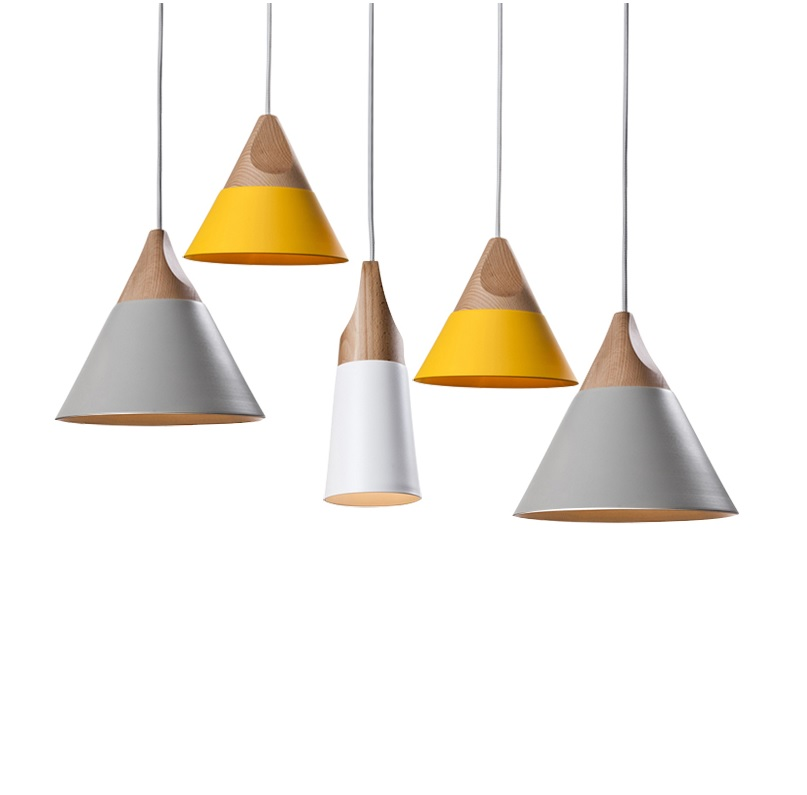 Pendant Lights in Metal Shade with Beech Wood Grain Cap, 1.2m string, 4kg Each Weight-in Pendant ...