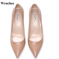 Wruchee working shoes ladies shoes big size pointed toe high heels 8cm 10cm 12cm matt dark nude color summer shoes