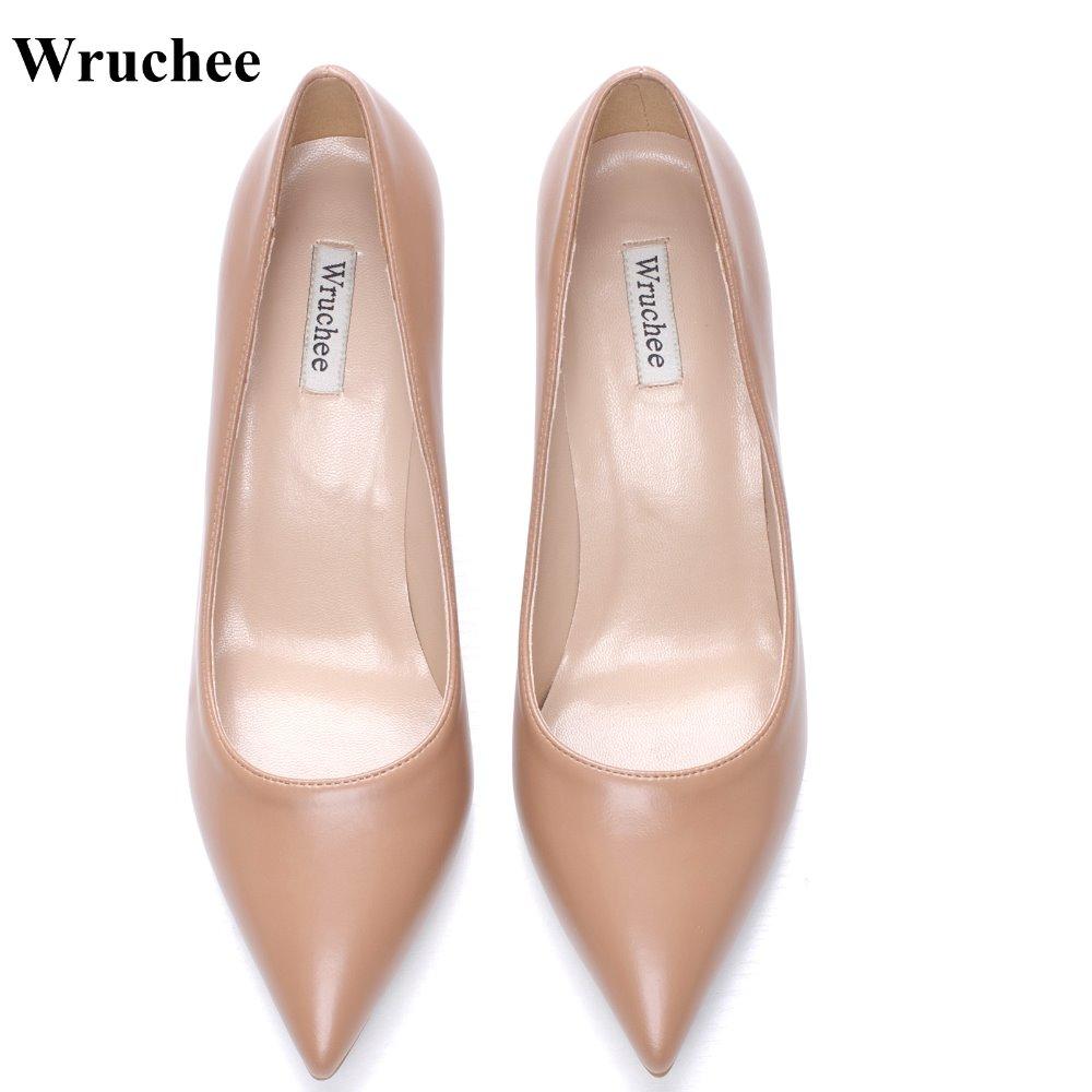 Wruchee  working shoes ladies shoes  big size pointed toe  high-heels 8cm 10cm 12cm  matt dark nude  color  summer shoes