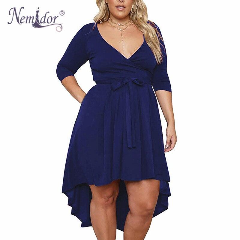 Nemidor Women Autumn Vintage 3/4 Sleeve 50s Party A-line Dress Stretchy V-neck Midi Casual Plus Size 8XL 9XL Dress