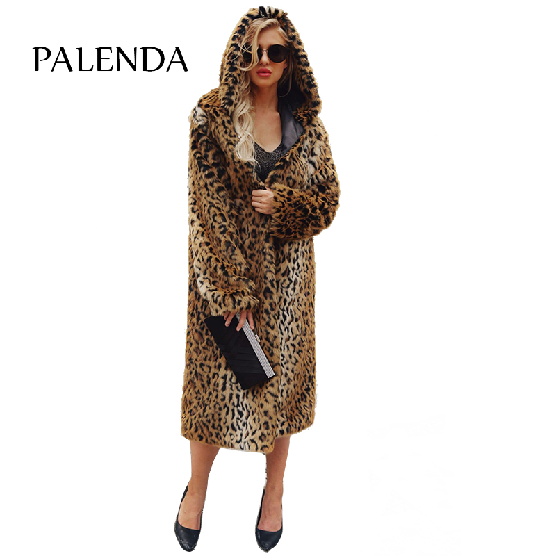 New Women Warm Faux Fur Coat X-long With Fur Trim Hood Coat Cheetah Pattern Material Oversized Thick Warm Coat