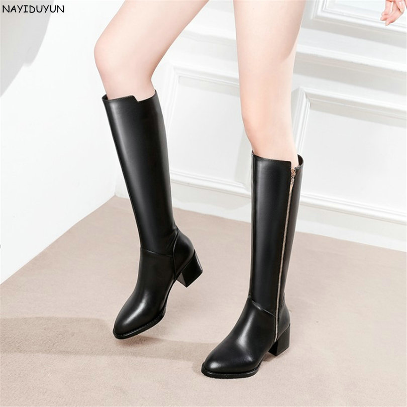 NAYIDUYUN  Fashion Black Thigh High Boots Women Real Leather Round Toe Knee High Boots High Heel Party Pumps Winter Warm Shoes nayiduyun new fashion thigh high boots women genuine leather round toe knee high boots high heel party pumps casual shoes