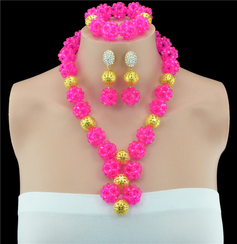 Handmade Rose African Crystal Balls Necklace Set Chunky Beads Pendant Choker Necklace Jewelry Set Free Shipping 10056