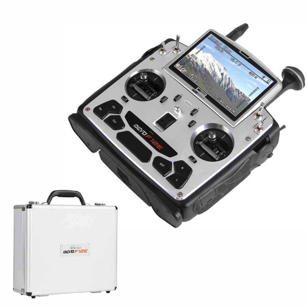 Walkera DEVO F12E 12 Channel FPV Radio Transmitter with 5' LCD Display (Aluminum Carry Case) walkera aluminum case for devo f12e fpv radio 5 8ghz transmitter silver