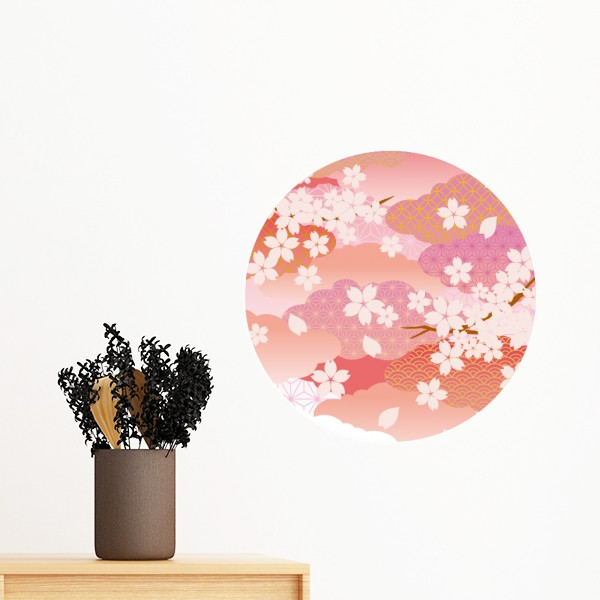 Cerise Fleurs Nuages Rose Motif Amovible Wall Sticker Art Stickers