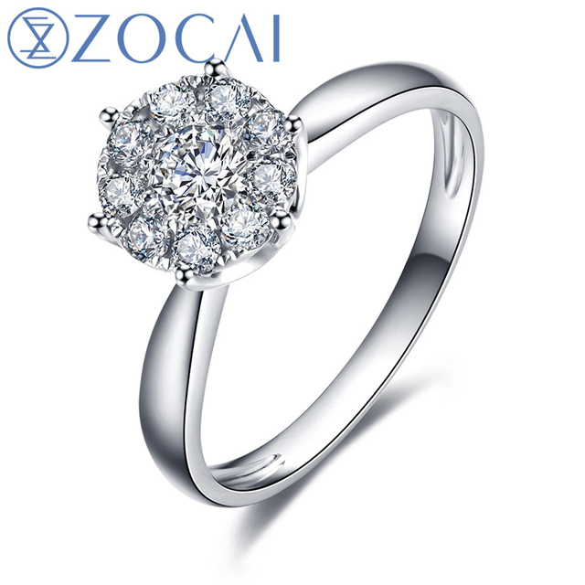 ZOCAI  0.35 CT CERTIFIED H / SI DIAMOND ENGAGEMENT RING ROUND CUT 18K WHITE GOLD JEWELRY W00041