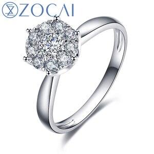 ZOCAI 0.35 CT CERTIFIED H / SI DIAMOND ENGAGEMENT RING ROUND CUT 18K WHITE GOLD JEWELRY W00041