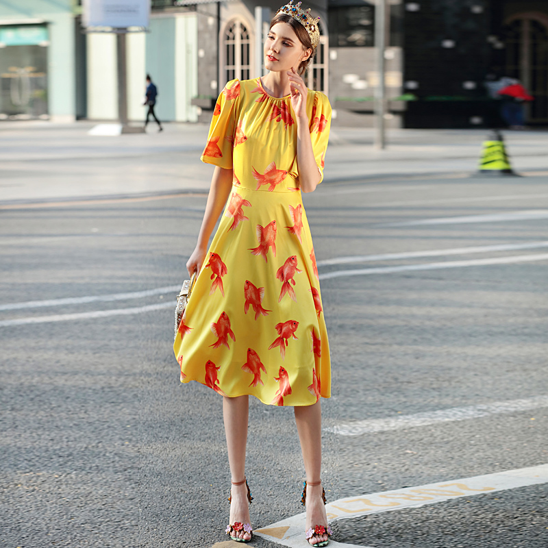Milan Catwalk New High-Quality Runway Designer 2018 Spring And Summer Fashion WomenS Party Vintage Printed Goldfish Dresses