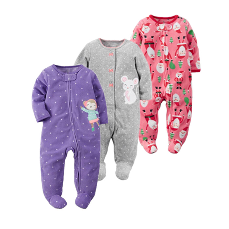 2018 christmas baby girl clothes soft fleece kids one pieces Jumpsuits Pajamas 0 24M infant girl