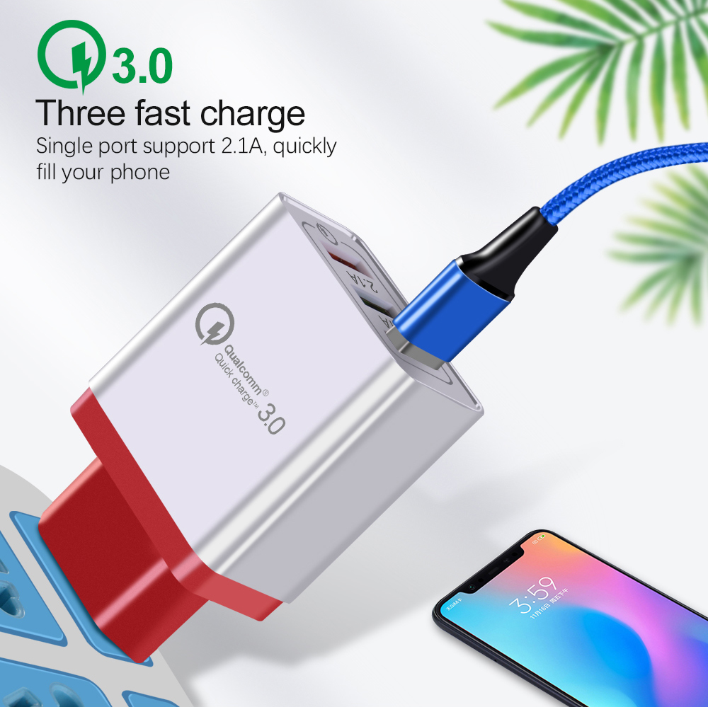 Quick Charge 3.0 USB Charger QC 3.0 3 Ports USB Fast Charging 18W USB Wall Charger for iPh