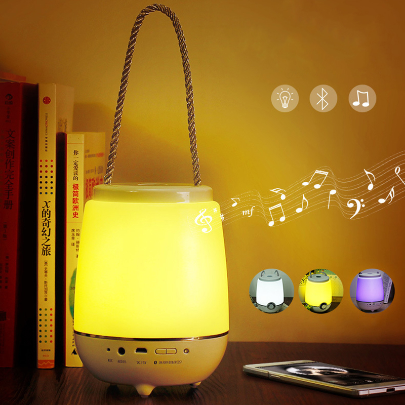 Hot Portable Wireless Bluetooth Speaker LED Night Light USB Charging Creative Smart Mood Lamp For Emergency Feeding Bedside Lamp kmashi led flame lamp night light bluetooth wireless speaker touch soft light for iphone android christmas gift mp3 music player