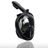 Full Face Anti Fog and Anti Leak Snorkel Diving Mask with 180 Degree Viewing Area and Action Camera Mount