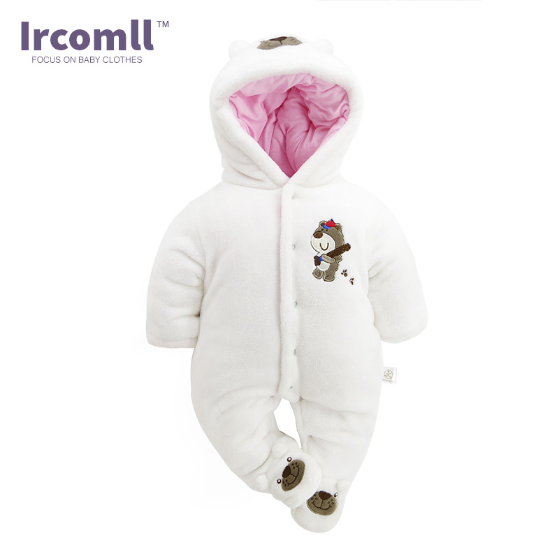 Ircomll Newborn Girl Romper Fleece Winter Baby Girl Clothing Warm Soft Infant Babies Clothes Kid Jumpsuit Children Outerwear