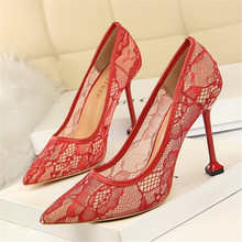 Womens lace high heels new fashion sexy nightclub openwork mesh thin mouth pointed high-heeled womens shoes