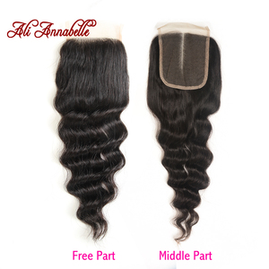"""Image 4 - ALI ANNABELLE HAIR Brazilian loose Wave Lace Closure Transparent Lace Medium Brown Remy Human Hair Closure Swiss Lace  10"""" 20"""""""