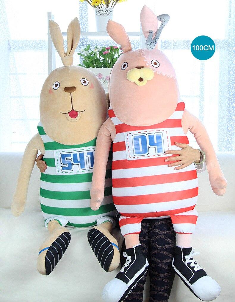 ФОТО 100cm Hight Quality Original Genuine New hot sale tusm plush toy doll Usavich Rabbit escape Prison the rabbit pink and green