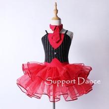 Vestido de tutú de ballet rojo y negro, traje de danza contemporánea para niñas pequeñas y mujeres con corbata de Paillette extraíble C286