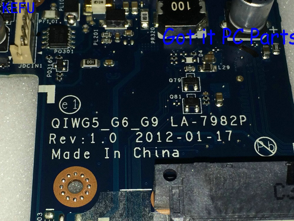 KEFU HOT IN RUSSIA GIWG5_G6_G9 REV : 1.0 LA-7982P FREE SHIPPING  LAPTOP MOTHERBOARD FOR LENOVO G580 NOTEBOOK PC compare PLEASE kefu new a1771577a mbx 224 m960 rev 1 1 free shipping laptop motherboard for sony vpceb notebook pc compare before order