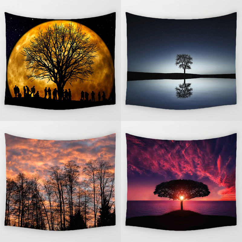Comwarm Tree of Life Pattern Wall Hanging Gobelin Mural Natural Scenery Durable Printed Polyester Tapestry Life Living Decor Art