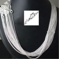 46f42a9cf974 Wholesale 100pcs Lot 925 Stamped Silver Plated 1mm Link Rolo Chains 16 18  20 22 24