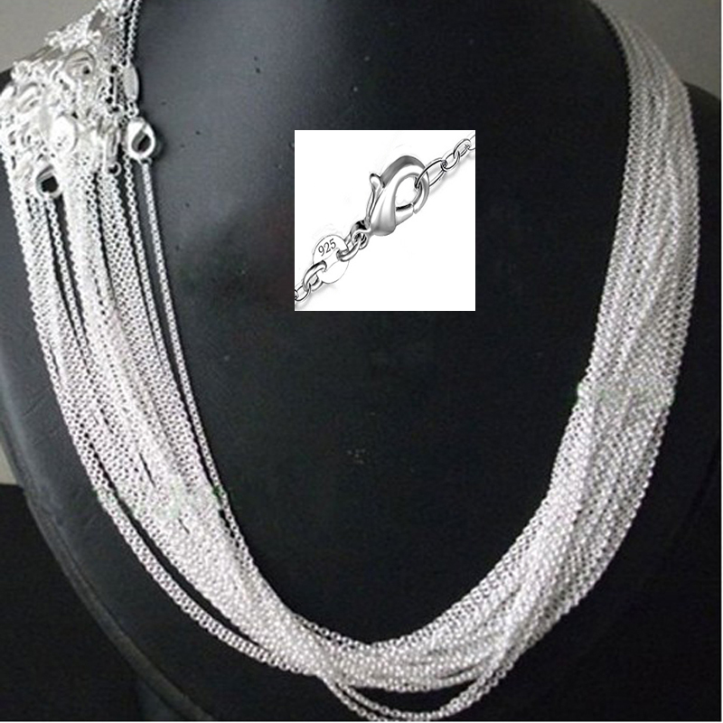 wholesale 100pcs/lot 925 stamped Silver Plated 1mm Link Rolo Chains 16