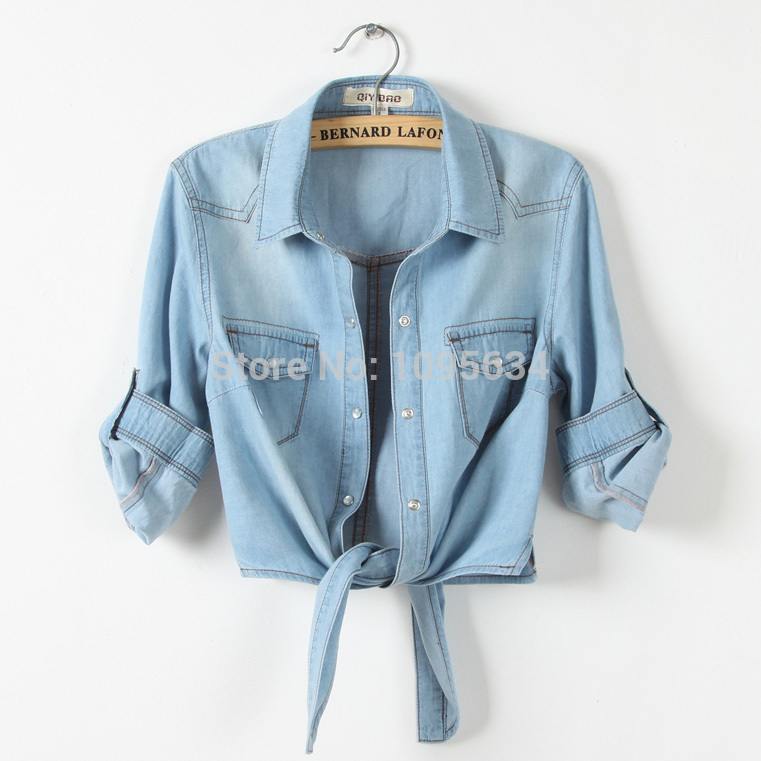 free shippinginstyles All-match denim shirt female sweep tieclasps lacing denim outerwear  short design for   walson ii