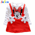 2017 Baby Girls Dress Cute Cartoon Minnie Long Sleeve Spring Princess Party Clothing Cotton Baby Children Clothing 0-2 Years