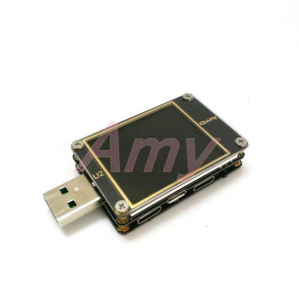 Qway-U2p corrente e tensione-meter tester USB QC4 + PD3.0 2.0PPS protocollo di capacità di carica veloce dimensione