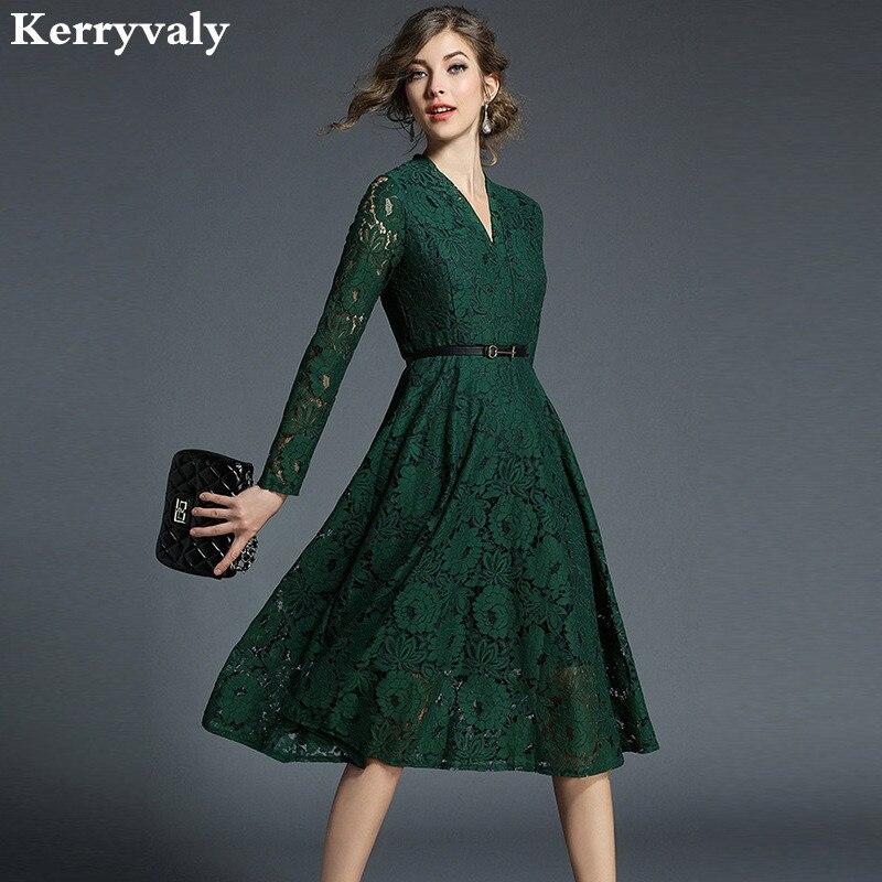 Ladies V-neck Green Lace <font><b>Dress</b></font> Vetement Femme 2018 Spring Evening Party Women <font><b>Dress</b></font> Robe Femme Sukienki Damskie K6827