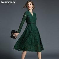 Ladies V neck Green Lace Dress Vetement Femme 2018 Spring Evening Party Women Dress Robe Femme Sukienki Damskie K6827