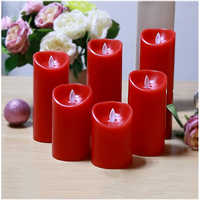1pcs 7 5cm Dia 20cm H Red Battery Operated Flameless Flickering Flashing Tealights LED Tea Candle
