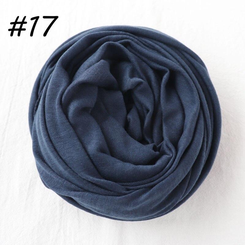 Один кусок Хиджаб Женский вискозный Джерси-шарф Мусульманский Исламский сплошной простой Джерси хиджабы Макси шарфы мягкие шали 70x160 см - Цвет: 17 navy