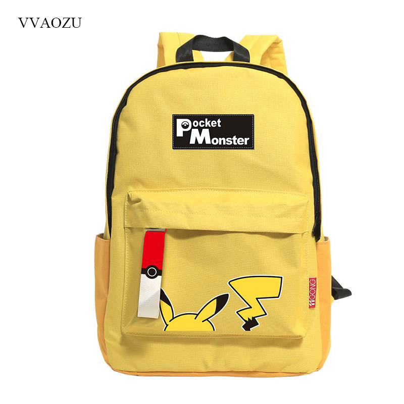 Cute Pikachu Shoulder Bag Backpack Pocket Monsters Cartoon Yellow Travel Bag School Students Backpacks Rucksack