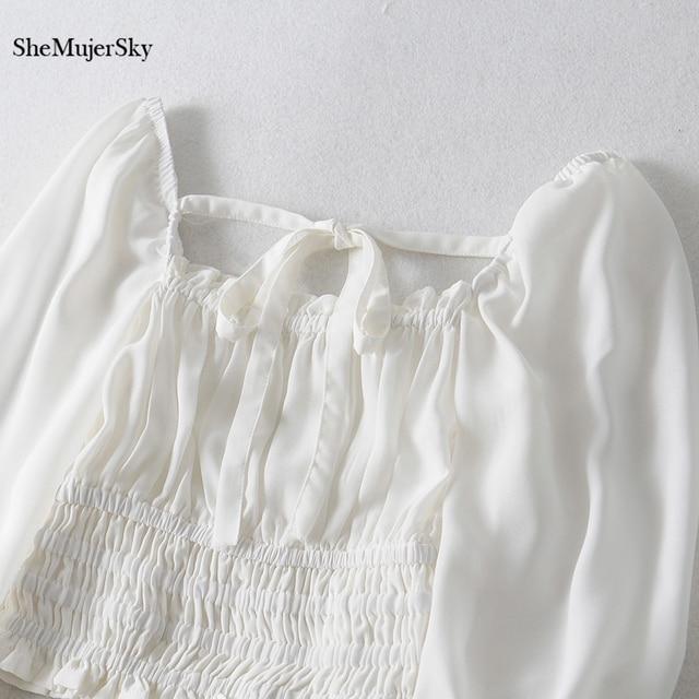 SheMujerSky Women Sexy Off Shoulder Chiffon Blouse Elastic Bandage Short Tops White Shirt 2019 koszula 3