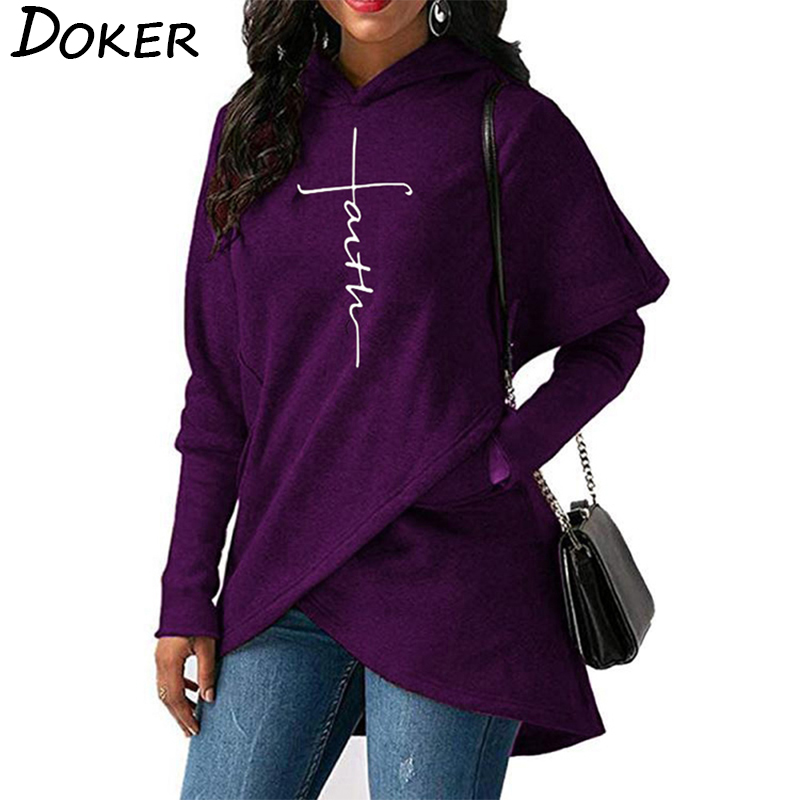 5XL Autumn Hoodies Sweatshirts Women Long Sleeve Faith Embroidery Warm Hooded Pullover Tops Plus Size Casual