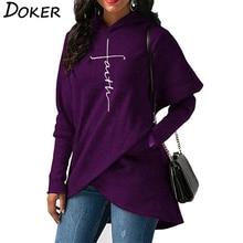 5XL осень толстовки кофты для женщин с длинным рукавом вера вышивка теплый пуловер капюшоном топы корректирующие плюс размеры повседнев