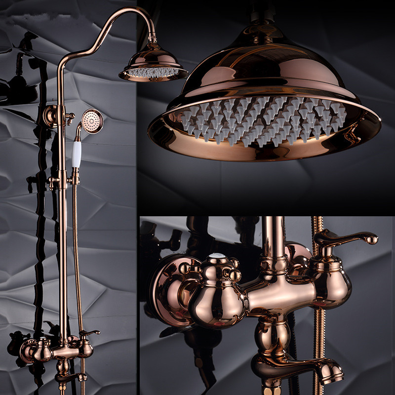 Luxury antique brass rose gold shower sets golden sprinkle European retro suit copper wall faucets